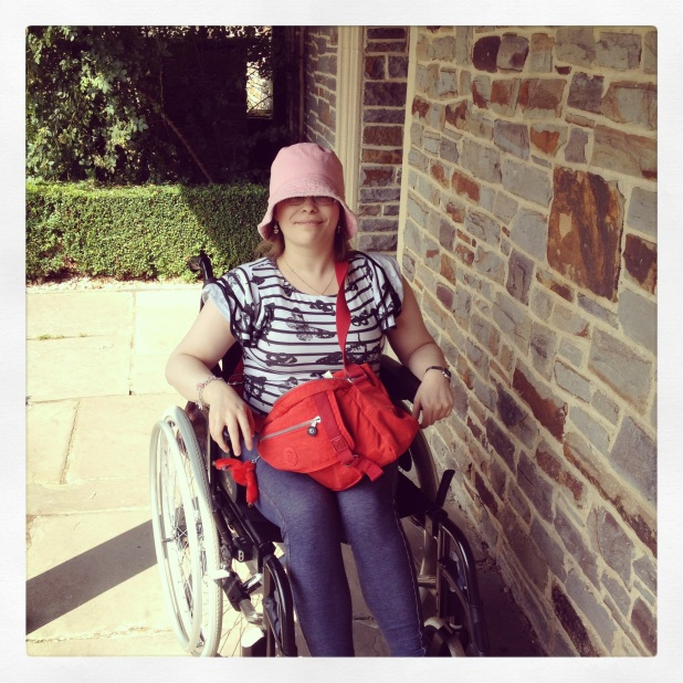 Me out and about in my wheelchair