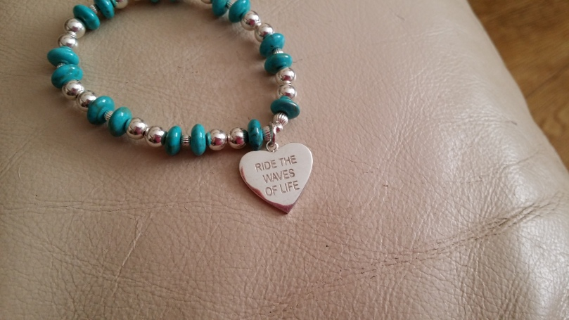 A new bracelet to remind myself to ride the waves of chronic illness and to not let it stop me from living my life