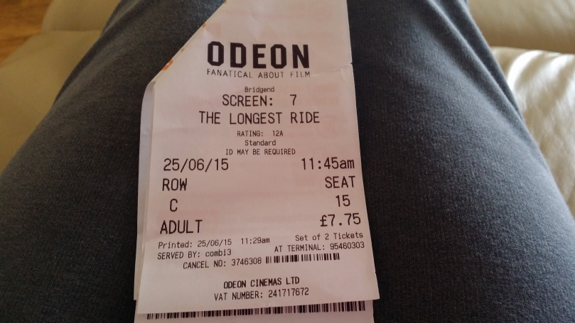 My ticket for a showing of 'The Longest Ride'