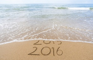 Just like in the sand, 2015 is being erased to make way for 2016